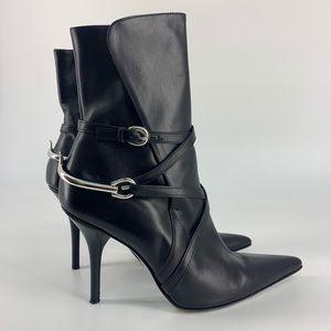Michael Kors Leather Horsebit Wrap Boot Black 7.5